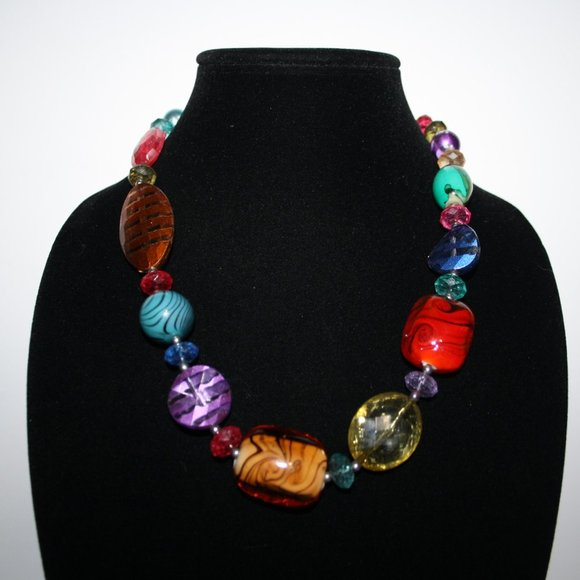 """Colorful chunky necklace 18-21"""""""